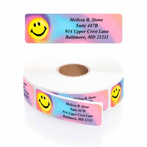 Tie Dye Smile Designer Rolled Address Labels