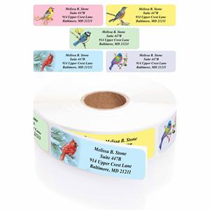 Birds Designer Rolled Address Label Assortment