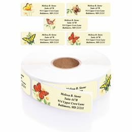 Butterfly Designer Rolled Address Labels With Plastic Dispenser