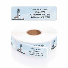 Lighthouse Designer Rolled Address Labels With Elegant Dispenser