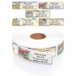 Rural America Designer Rolled Address Labels With Elegant Dispenser