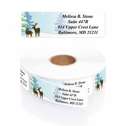 Festive Deer Designer Rolled Address Labels