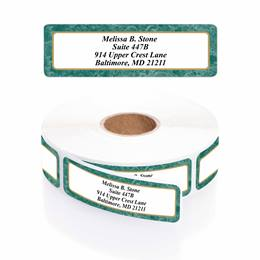 Green Marble Designer Rolled Address Labels