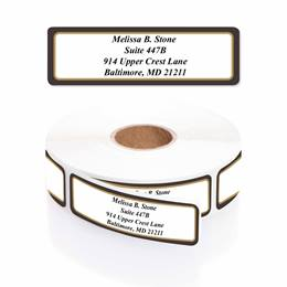 Black And Gold Designer Rolled Address Labels With Elegant Dispenser