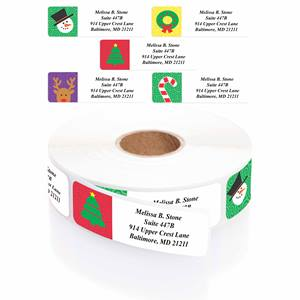 Holiday Symbols Designer Rolled Address Label Assortment