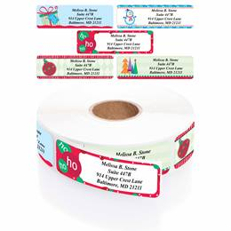 Trendy Christmas Designer Rolled Address Label Assortment