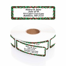 Holly Border Designer Rolled Address Labels