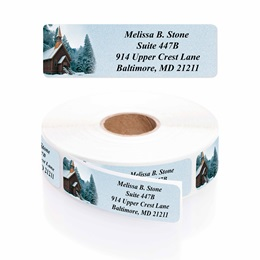 Church In Snow Designer Rolled Address Labels