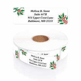 Holly Jolly Holiday Designer Rolled Address Labels
