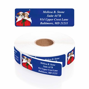 Christmas Cuddle Designer Rolled Address Labels