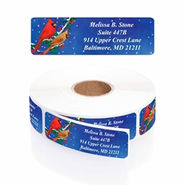 Holiday Cardinals Designer Rolled Address Labels