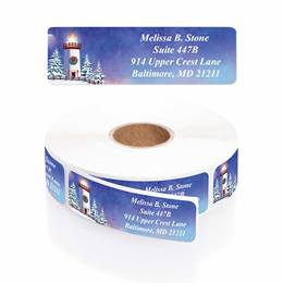 Snowy Lighthouse Designer Rolled Address Labels