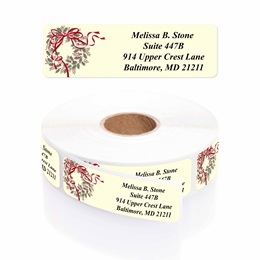 Holly Wreath Designer Rolled Address Labels