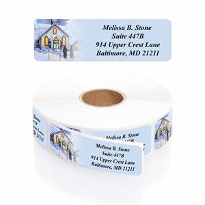 Quaint Village Christmas Designer Rolled Address Labels
