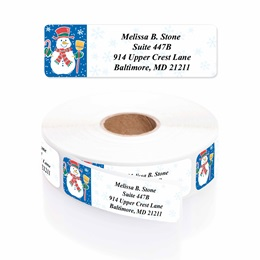 Snowman Designer Rolled Address Labels