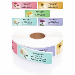 Garden Blossoms Designer Rolled Address Label Assortment