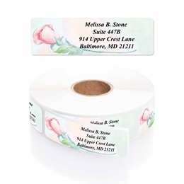 Soft Roses Designer Rolled Address Labels With Elegant Dispenser