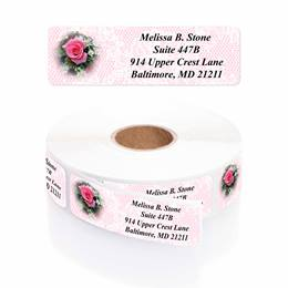 Romantic Rose Designer Rolled Address Labels