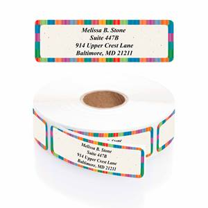 Bright Stripe Designer Rolled Address Labels