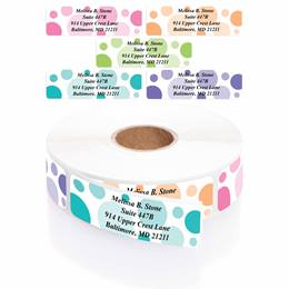 Graphic Dots Designer Rolled Address Labels With Elegant Dispenser