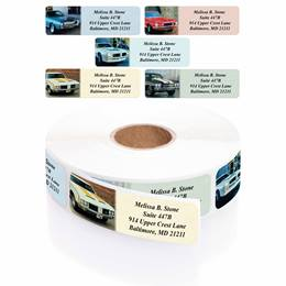 Muscle Cars Designer Rolled Address Label Assortment