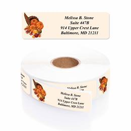 Bountiful Autumn Designer Rolled Address Labels