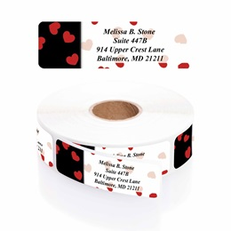 Black And Red Valentine Designer Rolled Address Labels