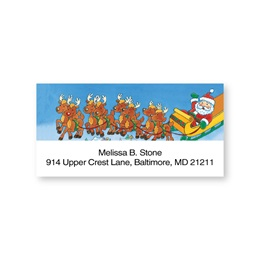 Santa With Reindeer Sheeted Address Labels