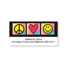 Peace Heart Smiley Sheeted Address Labels