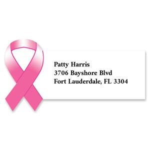 Pink Awareness Ribbon Diecut Sheeted Address Labels