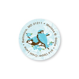 Blue Birds Round Sheeted Personalized Name And Address Labels