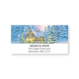 Winter Cottage Holiday Address Labels