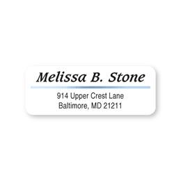 Blue Foil Accent On White Sheeted Address Labels