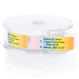 Cascading Colors Rolled Address Labels With Elegant Dispenser