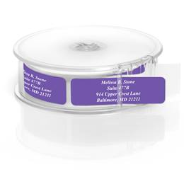 Purple Rolled Personalized Name And Address Labels With White Print