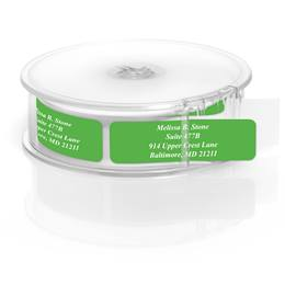 Green Rolled Personalized Name And Address Labels With White Print