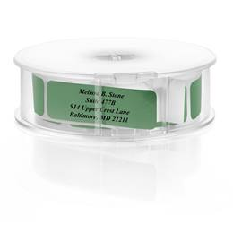 Green Foil Rolled Address Labels with Elegant Plastic Dispenser