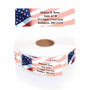 Flag Designer Rolled Address Labels With Plastic Dispenser