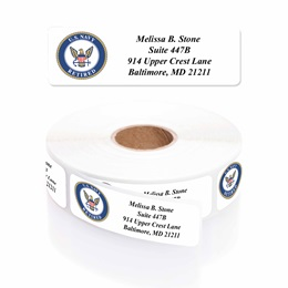 Navy Retired Designer Rolled Address Labels