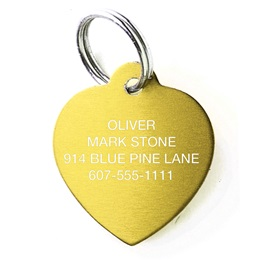 Heart Shape Pet Tag Solid Brass