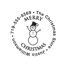 Snowman Merry Christmas Self-Inking Round Personalized Name and Address Stamper