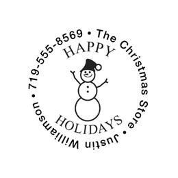 Snowman Happy Holidays Self-Inking Round Personalized Name and Address Stamper