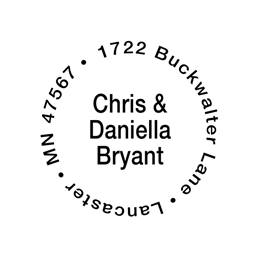 Couples Self-Inking Round Personalized Name and Address Stamper