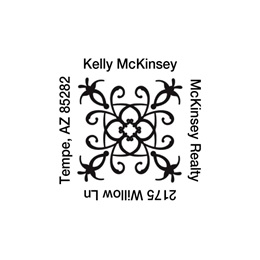 Swirl Self-Inking Square Personalized Name and Address Stamper
