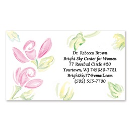 Watercolor Rose Single Sided Calling Cards