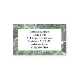 Green Marble Single Sided Calling Cards