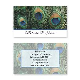 Peacock Feathers Double Sided Calling Cards