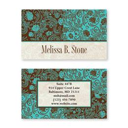 Aqua And Chocolate Double Sided Calling Cards