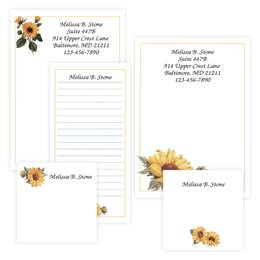 Sunflower Personalized Stationery And Memo Ensemble