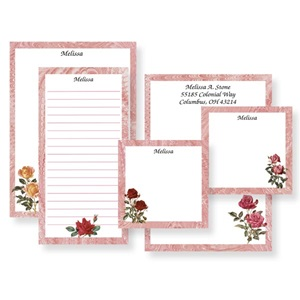 Rose Personalized Stationery And Memo Ensemble